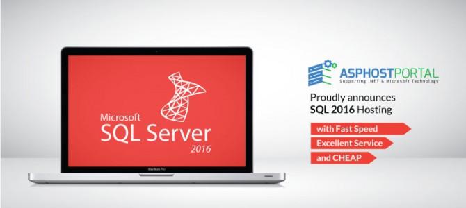 ASPHostPortal.com Announces SQL 2016 Hosting Solution